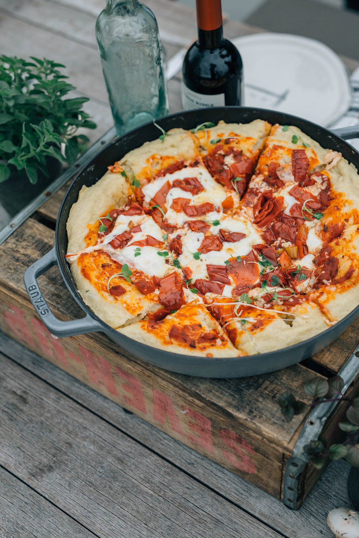 Pizza and Wine on a Rooftop in Seattle Deep Dish Pizza Dough by Matt Broussard