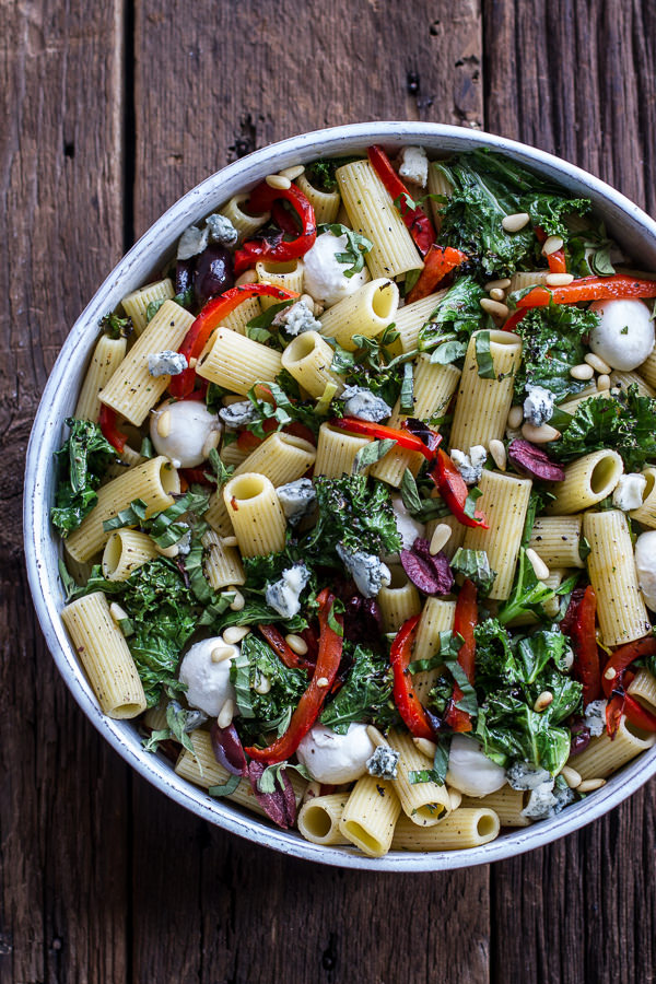 Simple Grilled Kale + Red Pepper Tuscan Pasta Salad | Half Baked Harvest - 10 Party Ready Fourth of July Recipes