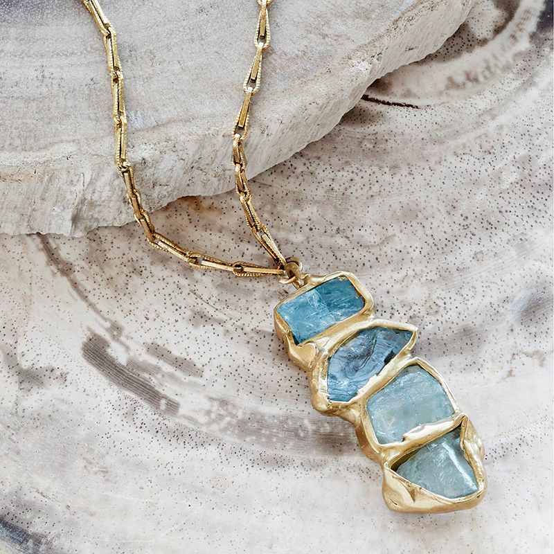 UncommonGoods Aquamarine Ebb and Flow Pendant created by Emilie Shapiro - UncommonGoods Jewelry Gift Guide for Gal Pals