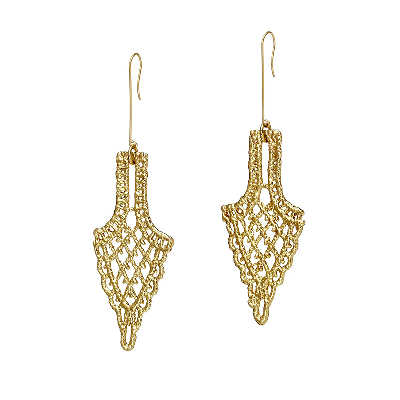 UncommonGoods Castillo Gold Dipped Lace Earrings created by Tulianna and Alejandra Garces - UncommonGoods Jewelry Gift Guide for Gal Pals