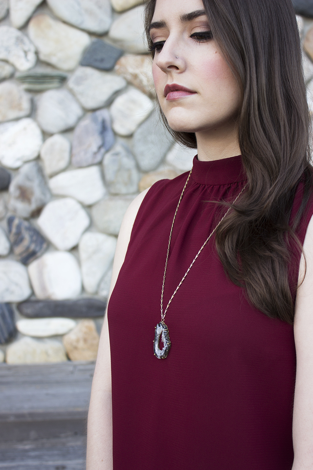 UncommonGoods geode necklace outfit Oco Geode Pendant 2
