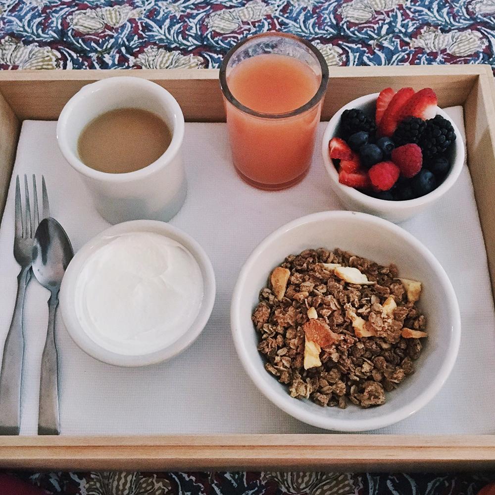 Hotel San Jose Review - Granola, yogurt, fruit. Room service at Hotel San Jose Austin, TX