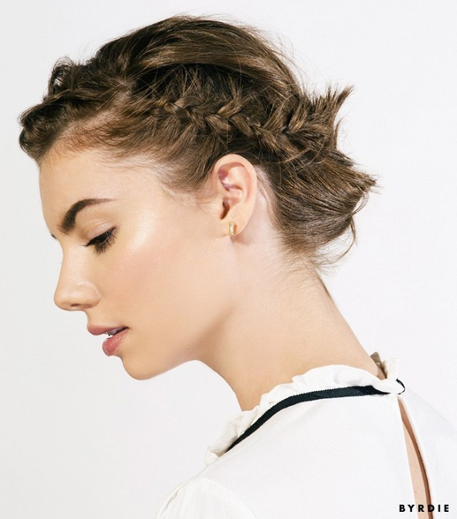 Tutorial: The Coolest Braided Updo for Short Hair | Byrdie - 8 Romantic Hairstyles for Fall