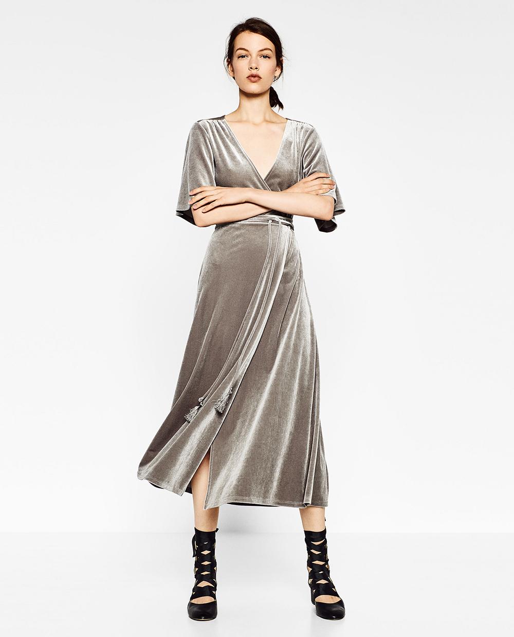 Zara Crossover Velvet Dress - 8 Perfect Velvet Pieces for Fall