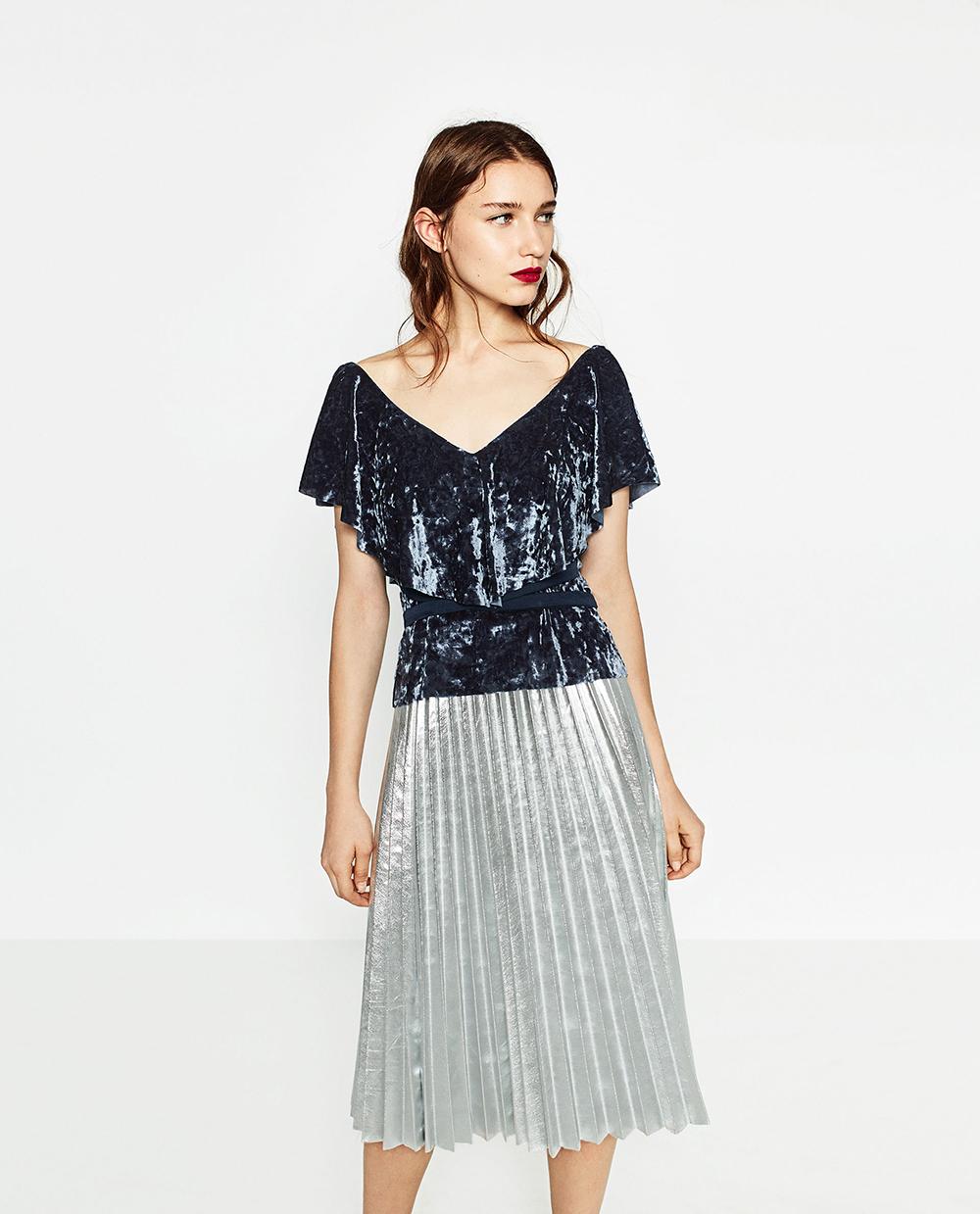 Zara Frilled Velvet Top - 8 Perfect Velvet Pieces for Fall