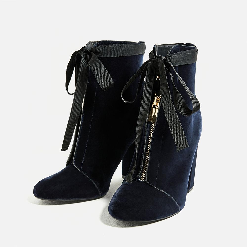 Zara High Heel Velvet Ankle Boots - 8 Perfect Velvet Pieces for Fall