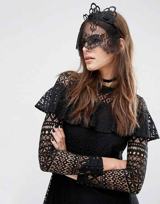 ASOS Halloween Lace Crown and Veil Headband - Spooky Style