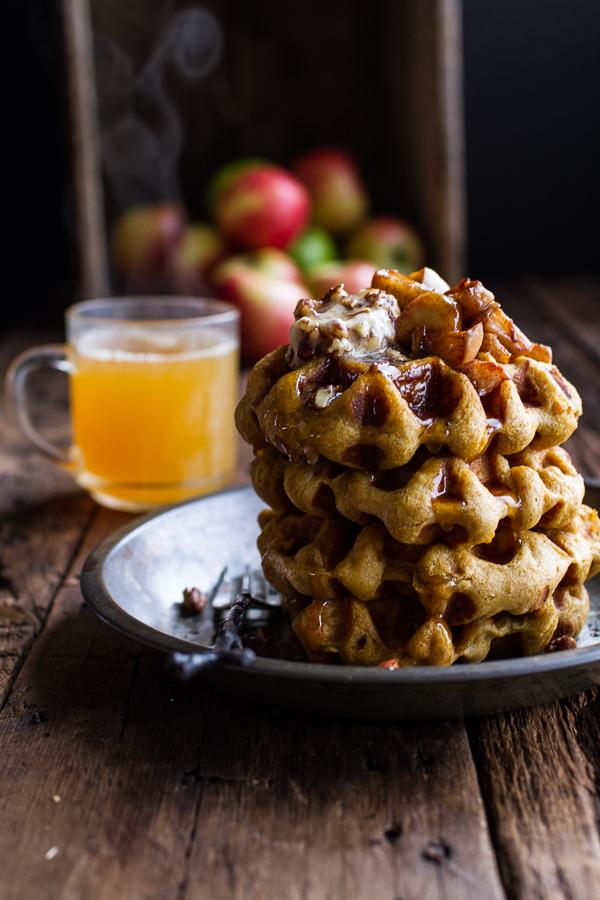 Overnight Cider Pumpkin Waffles w/Toasted Pecan Butter, Cider Syrup + Spiced Apples   Half Baked Harvest - 10 Sweet Pumpkin Recipes