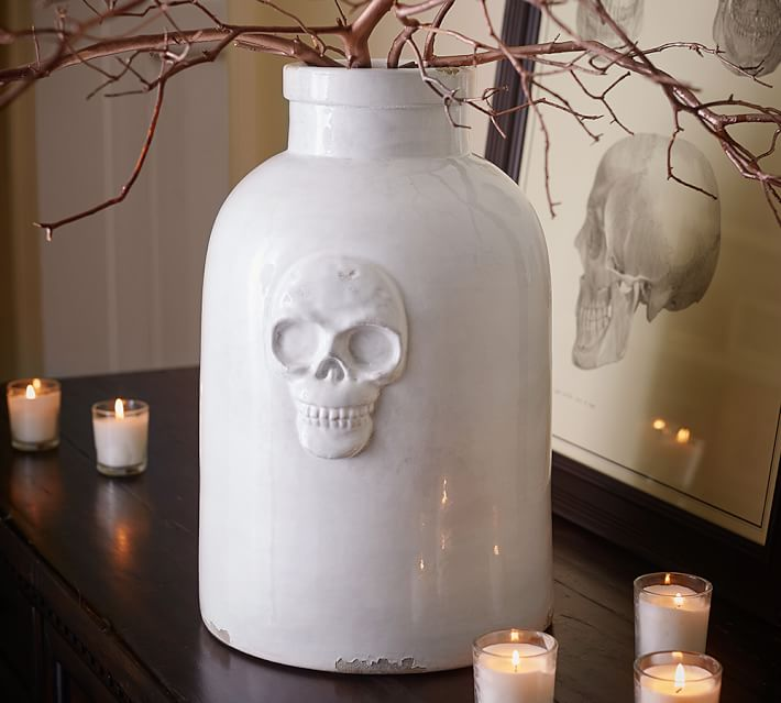 Pottery Barn Skull Ceramic Vase - Spooktacular Halloween Home Decor