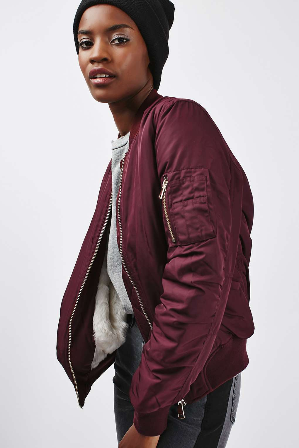 Topshop Lined Ma1 Bomber Jacket - 10 Seductive Burgundy Pieces for Fall