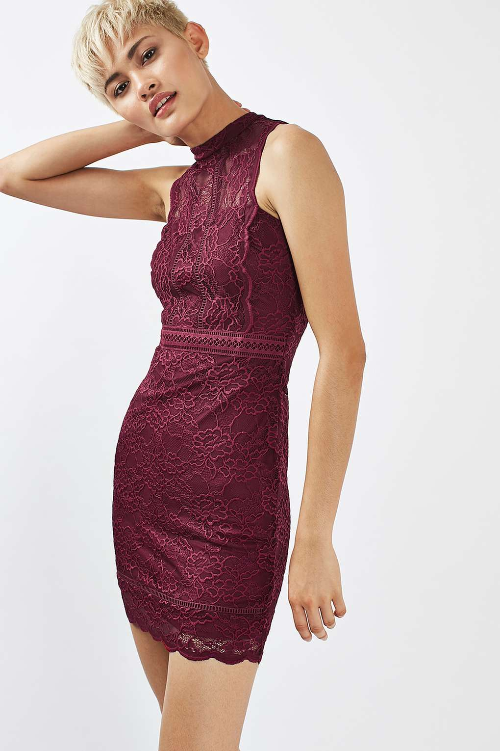 Topshop Scallop Mix Lace Bodycon Dress - 10 Seductive Burgundy Pieces for Fall
