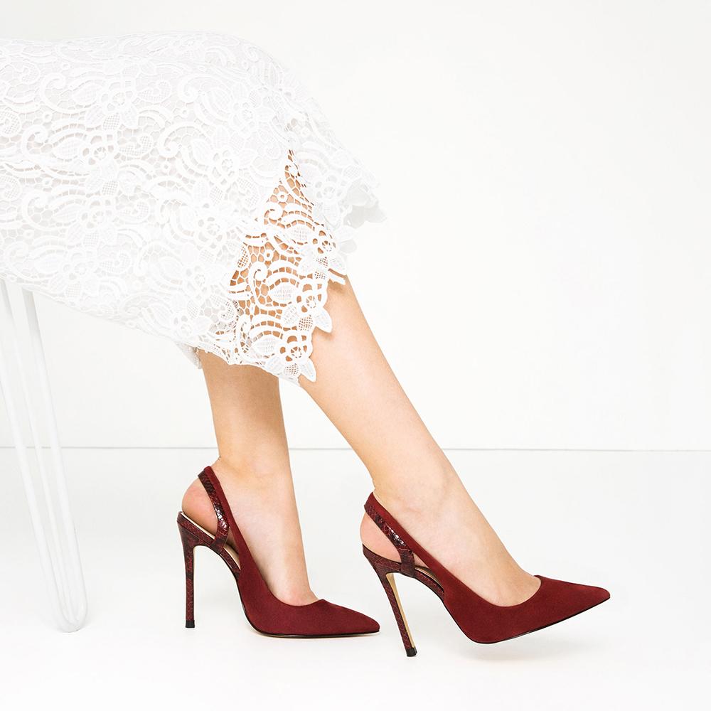 Zara Leather Slingback High Heel Shoes - 10 Seductive Burgundy Pieces for Fall