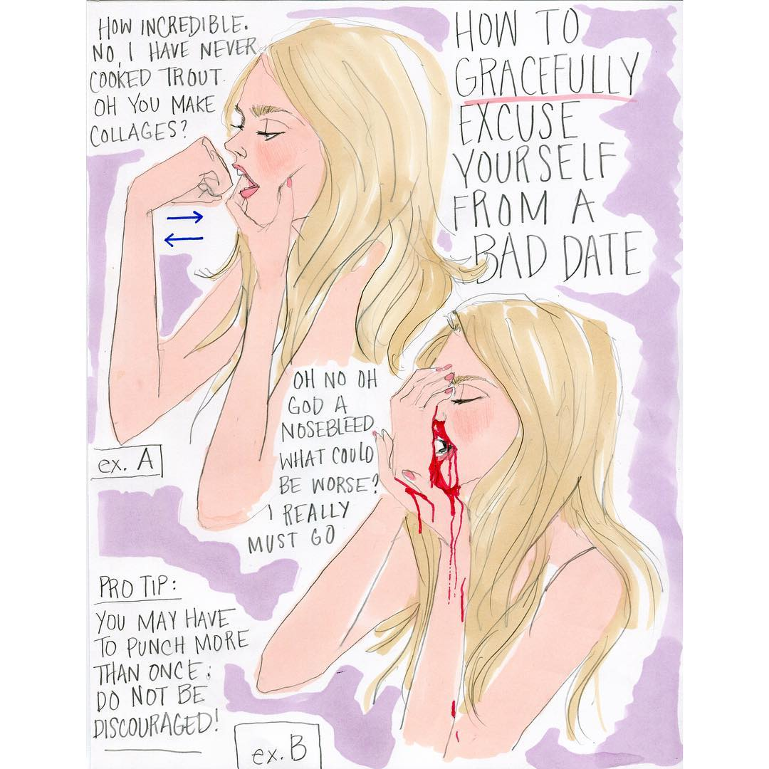 Instagram - @jooleeloren: Obsessed with #nosebleeds rn   Mood Julie Houts Illustrations
