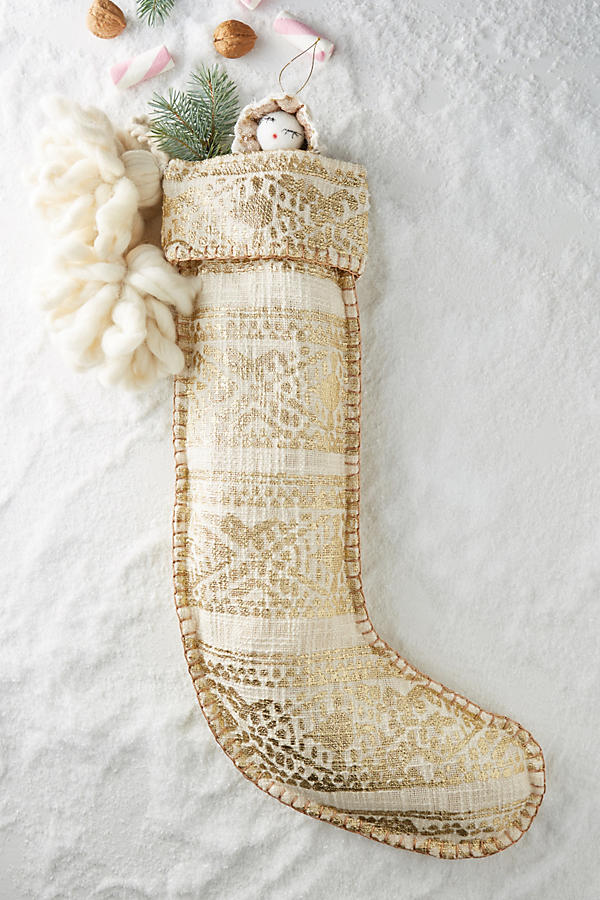 Anthropologie Gold Fair Isle Stocking - Deck Your Halls Christmas Ornaments and Home Decor
