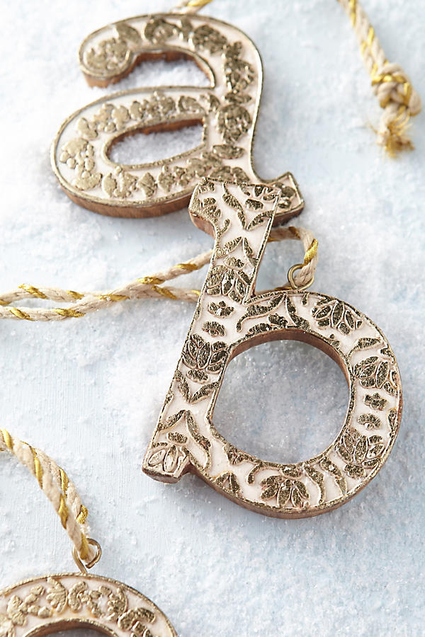 Anthropologie Vined Monogram Ornament - Deck Your Halls Christmas Ornaments and Home Decor