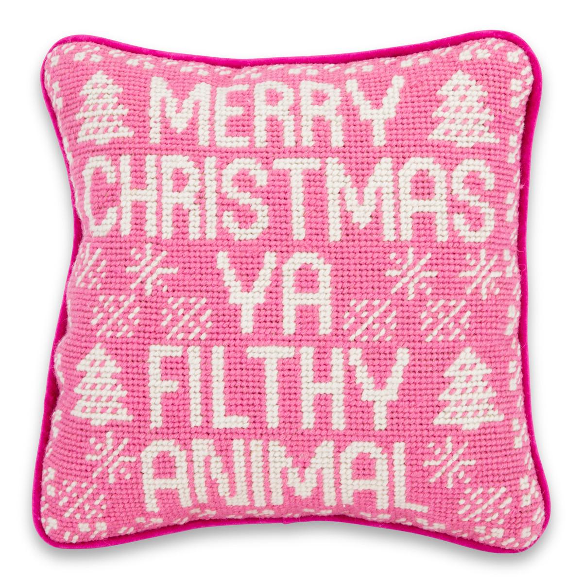 Furbish Studio Merry Christmas Filthy Animal Needlepoint Pillow - Deck Your Halls Christmas Ornaments and Home Decor