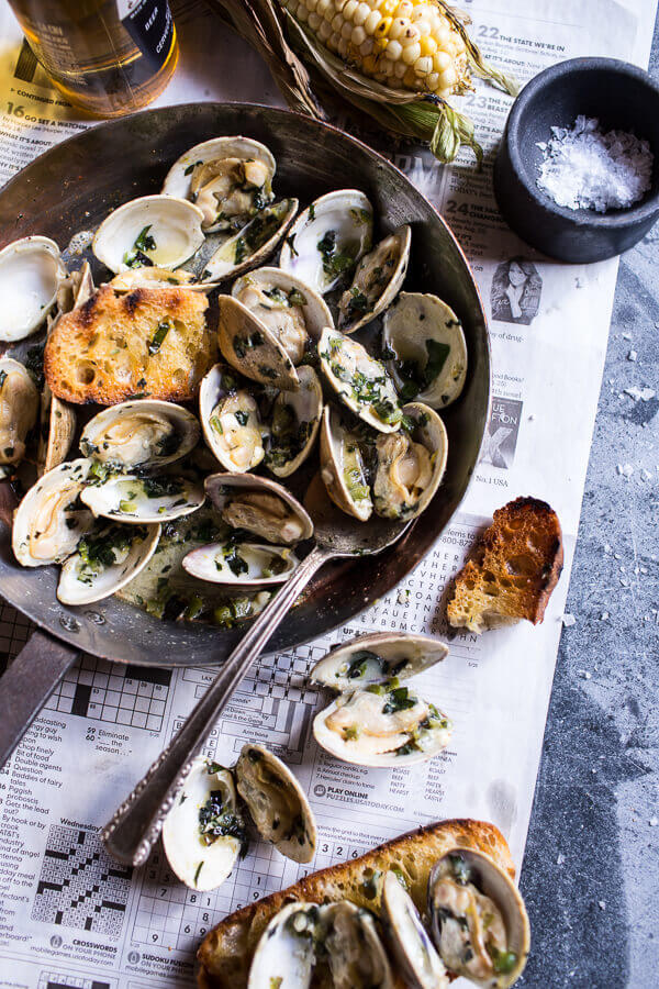 Grilled Clams with Charred Jalapeño Basil Butter | Half Baked Harvest - Pinterest Picks - 8 Indulgent Seafood Recipes for Christmas Eve