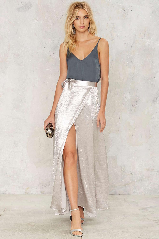 Nasty Gal Breakthrough Satin Slit Skirt - Unwrap These 10 Holiday Dresses