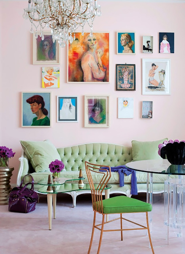22 Swoon-Worthy Salon Walls You Should Probably Pin - Abstract Salon Wall The Curated House   Brit & Co - Pinterest Picks - Dreamy Gallery Walls - Gallery Wall Inspiration