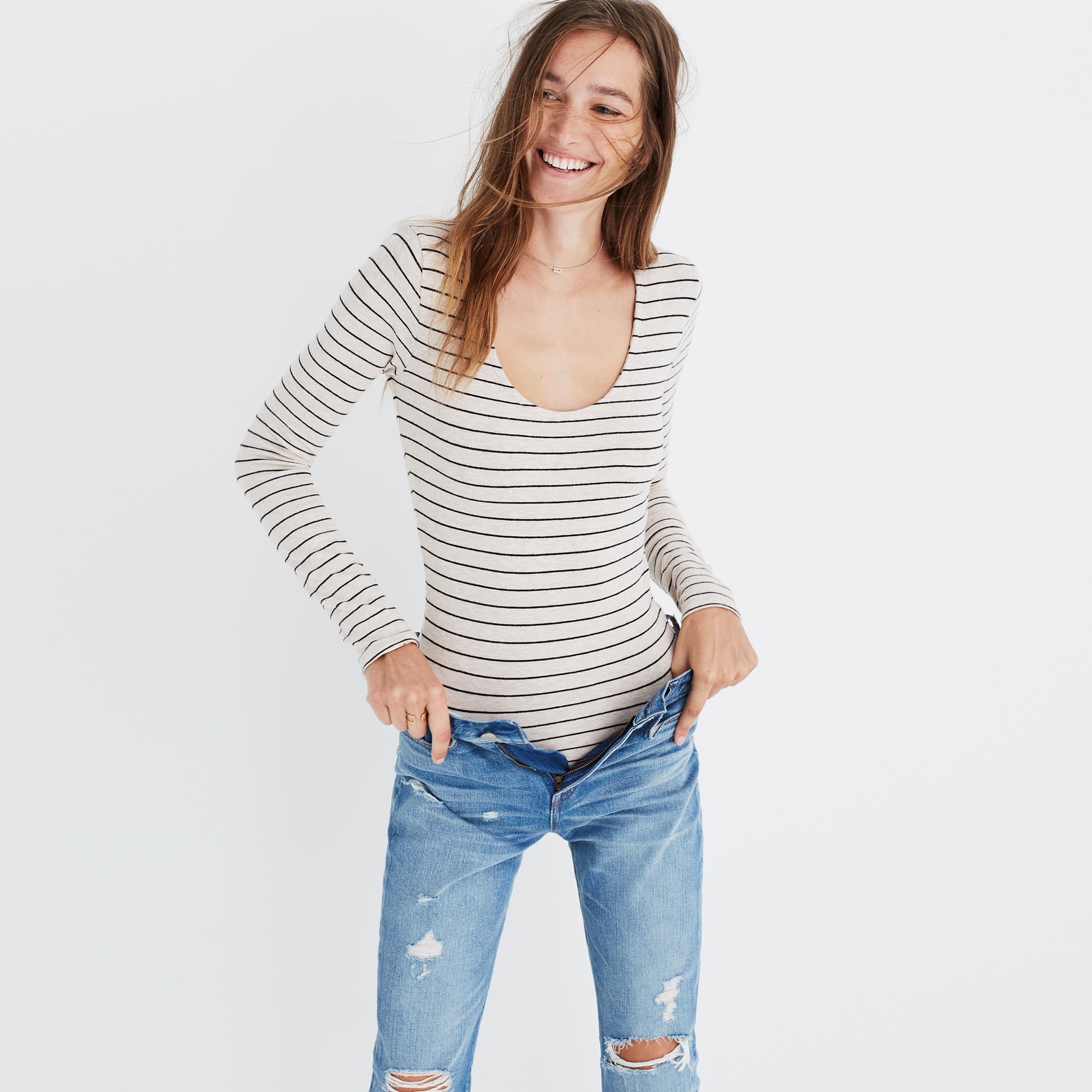 Madewell Song Scoop Bodysuit in Pierre Stripe - The Best Bodysuits