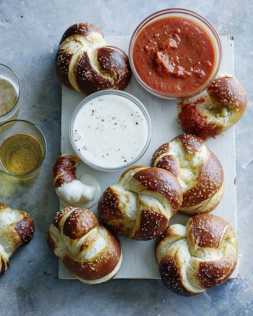 Parmesan Pretzel Knots with Parmesan Cheese Sauce | What's Gaby Cooking - 10 Super Bowl Recipes to Stave Off Monday's Hangover