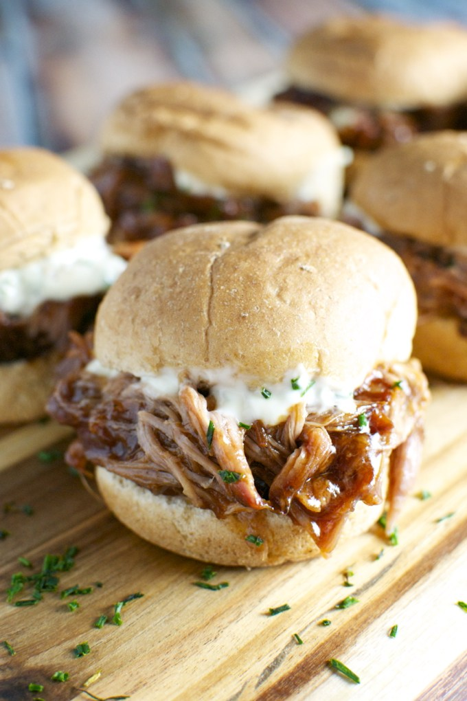 Pulled Pork Sliders with Garlic Aioli | Stuck On Sweet - 10 Super Bowl Recipes to Stave Off Monday's Hangover
