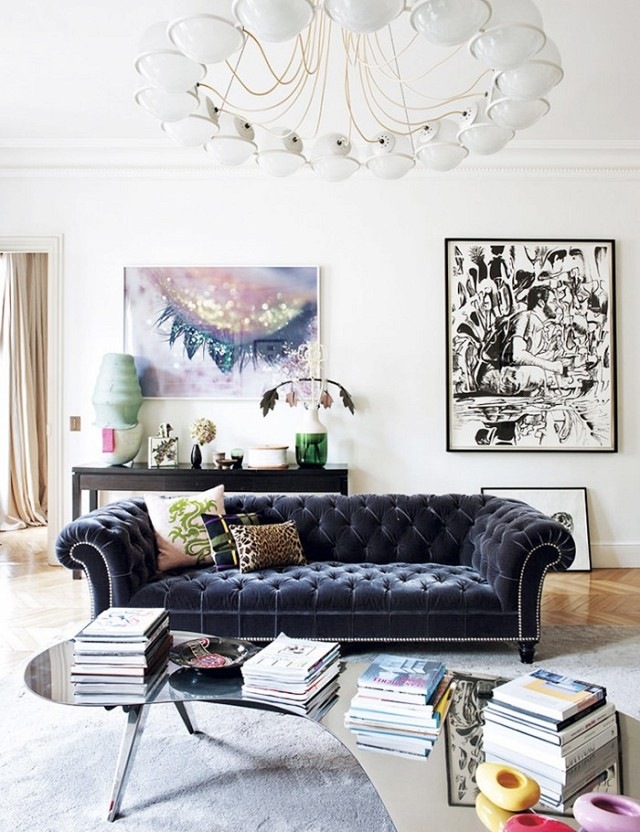 Step Inside an Eclectic Parisian Pad by LIZ LYNCH | Domaine - Pinterest Picks - Chesterfield Sofa Inspiration