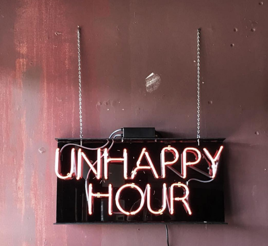 Unhappy hour neon sign - rose inspiration