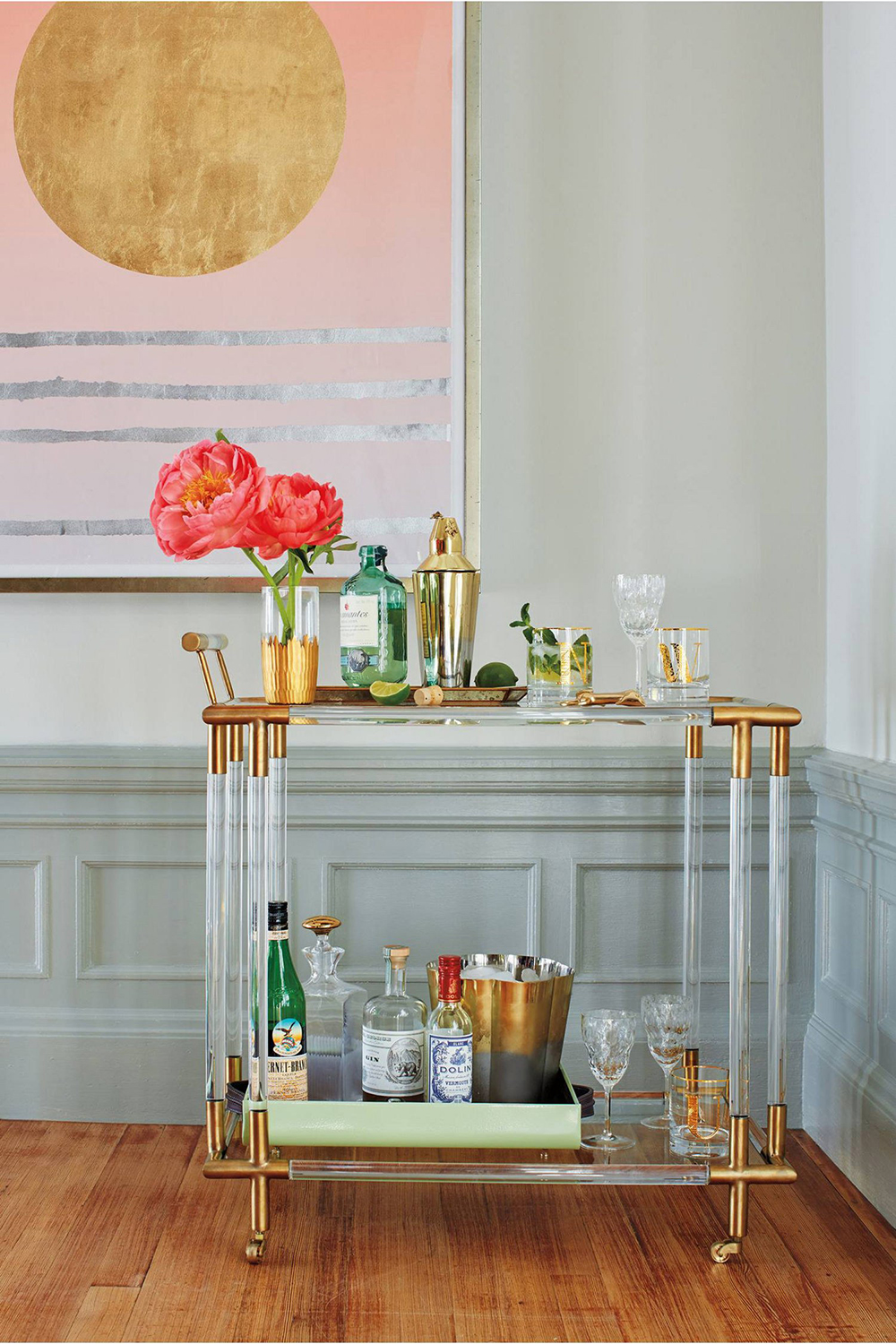 Anthropologie Oscarine Lucite Bar Cart - 10 Perfect Bar Carts for Entertaining