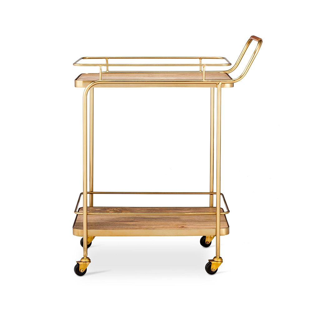 Metal, Wood, and Leather Bar Cart - Gold - Threshold™ - 10 Perfect Bar Carts for Entertaining