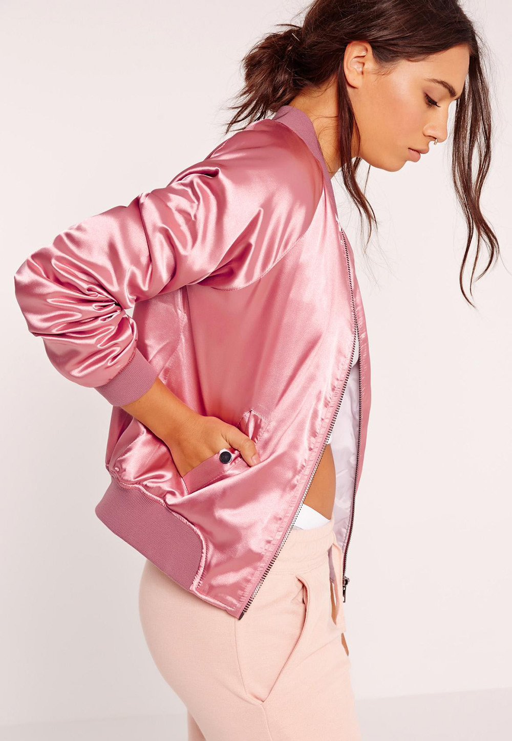 Missguided Premium Satin Bomber Jacket Pink | Valentine's Day Gift Guide