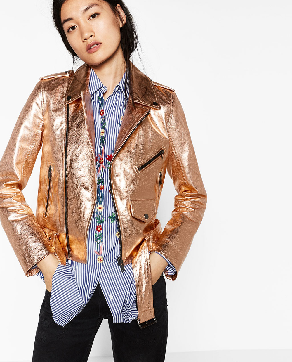 Zara Metallic Leather Jacket | Valentine's Day Gift Guide