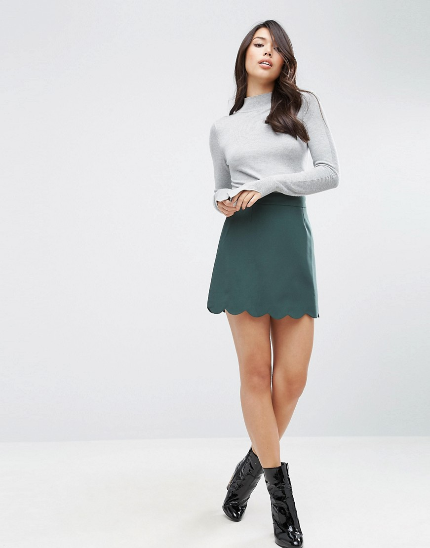 ASOS A-Line Mini Skirt with Scallop Hem - The Perfect A-line Mini Skirt