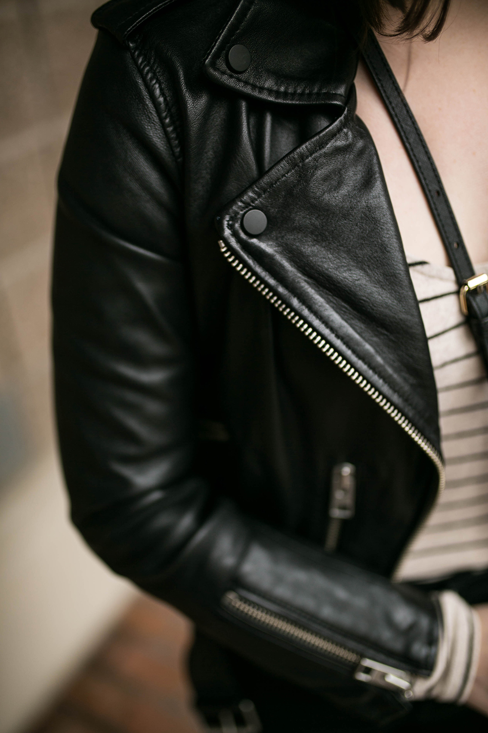 All Saints Balfern Leather Biker Jacket - Leather jacket outfit