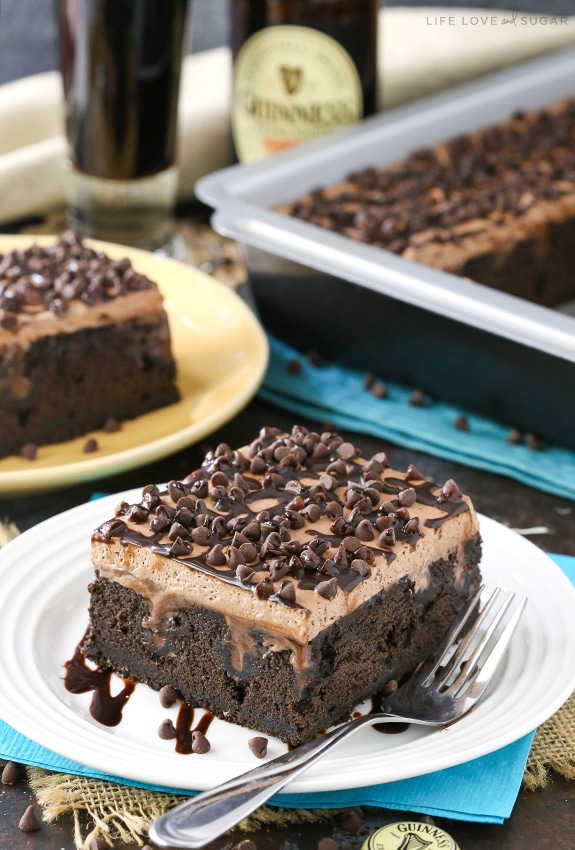 Guinness Chocolate Poke Cake | Life Love and Sugar - Pinterest Picks - 8 Sweet Guinness Recipes for St. Patricks Day