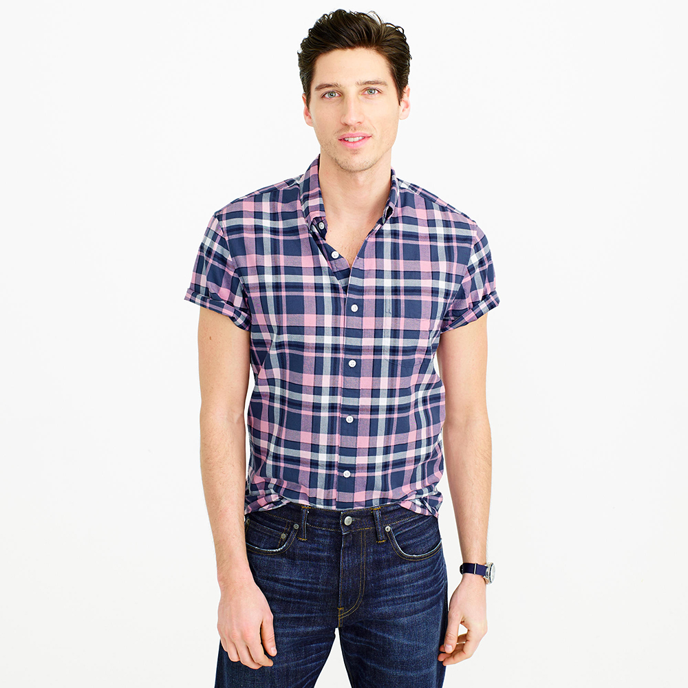J.Crew Slim Short-sleeve Lightweight Oxford in Pink Plaid - Spring Menswear: Button Downs and Bomber Jackets