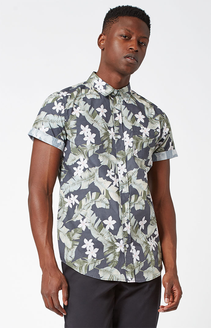 PacSun Grampy Tropical Short Sleeve Button Up Shirt - Spring Menswear: Button Downs and Bomber Jackets