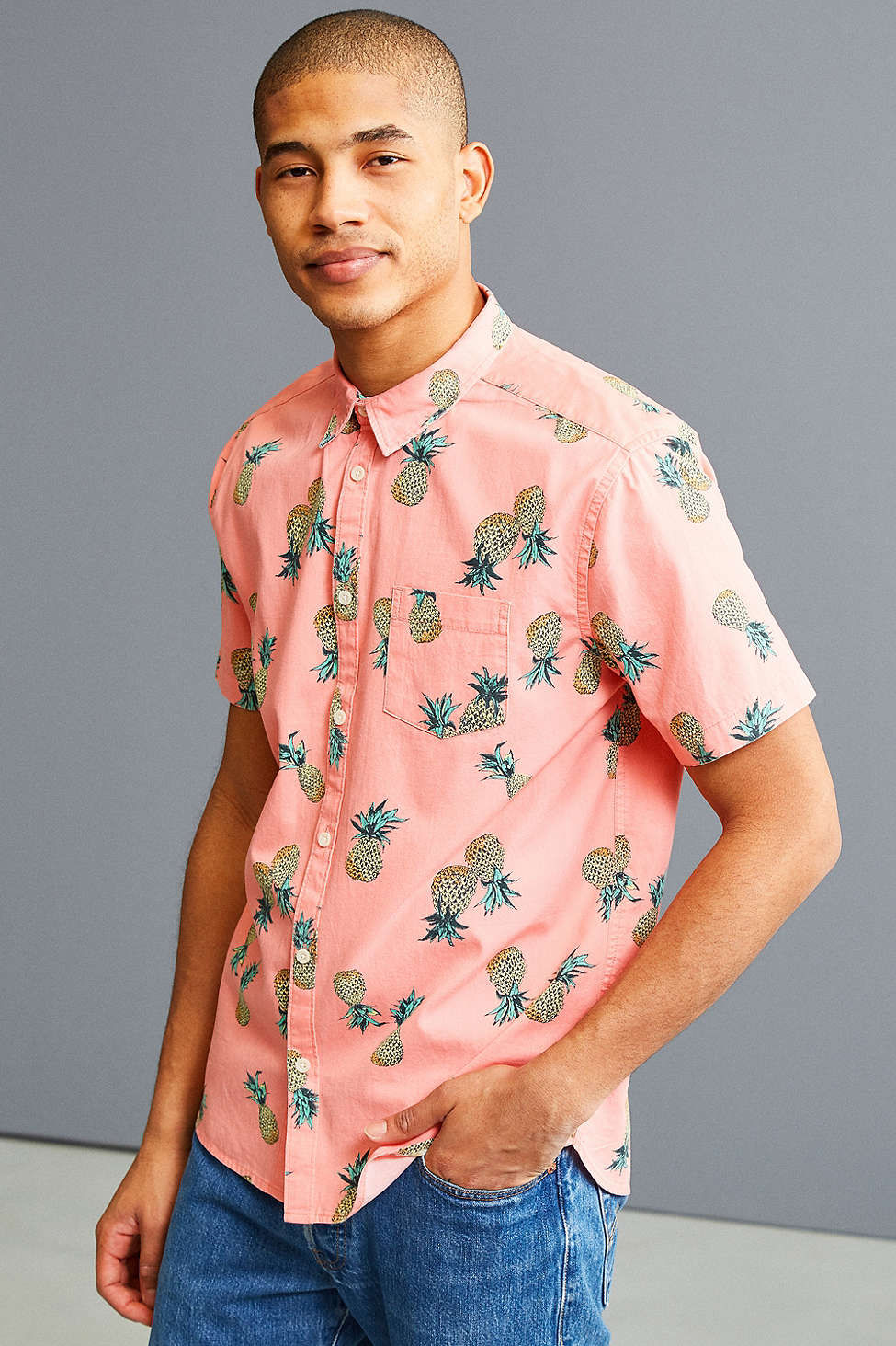 UO Pineapple Toss Short Sleeve Button-Down Shirt - Spring Menswear: Button Downs and Bomber Jackets