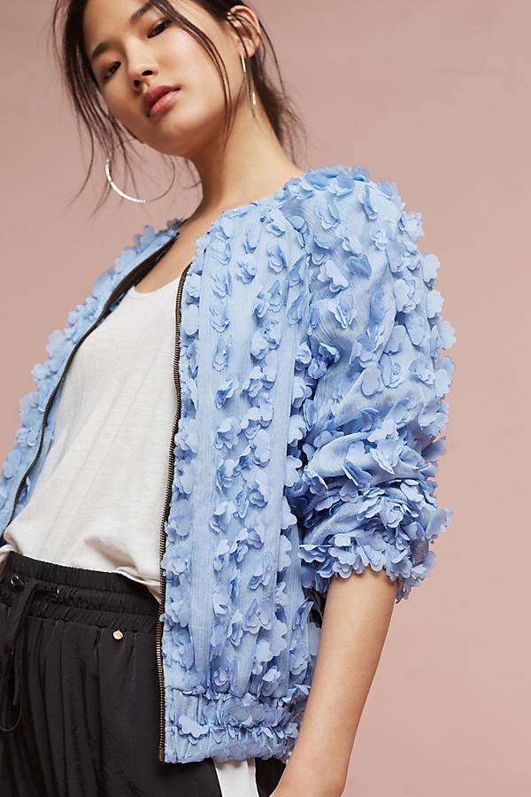 Anthropologie Tufted Floral Bomber