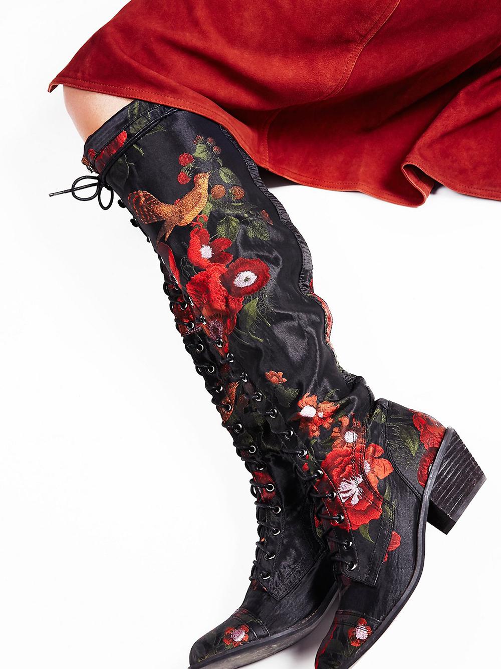 Jeffrey Campbell Floral Joe Lace Up Boot - Statement shoes