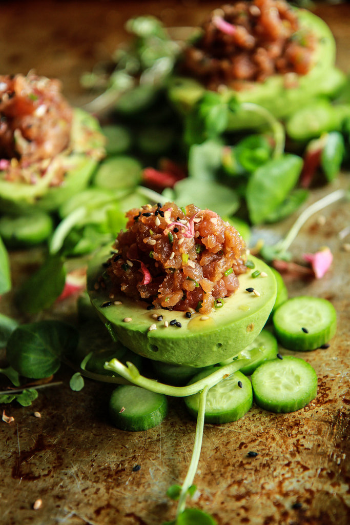 Spicy Tuna Poke Stuffed Avocados | Heather Christo - Poke Recipes