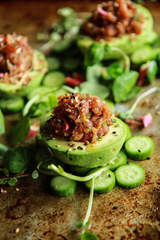 Spicy Tuna Poke Stuffed Avocados | Heather Christo - Poke Recipes