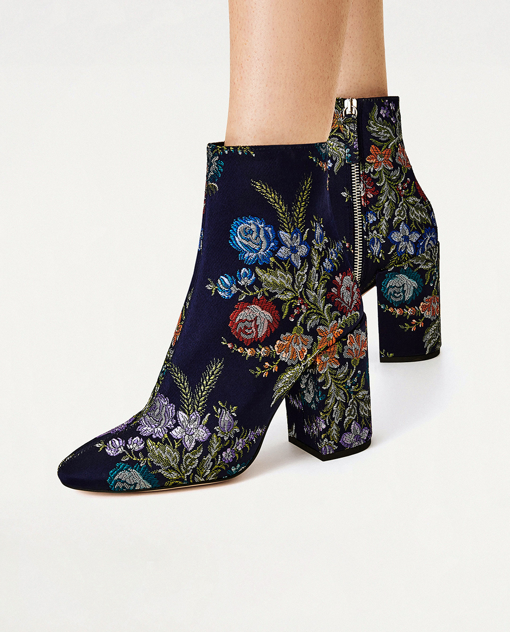 Zara Embroidered Detail Ankle Boots - Statement shoes
