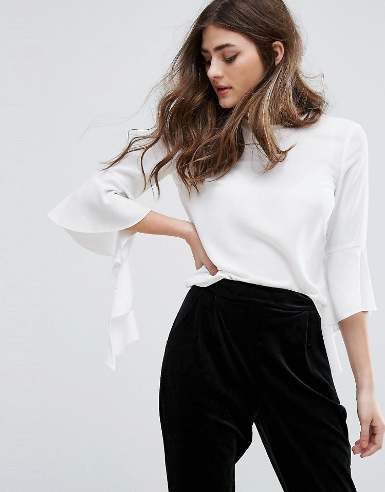 Miss Selfridge Frill Sleeve Top - Statement Sleeves