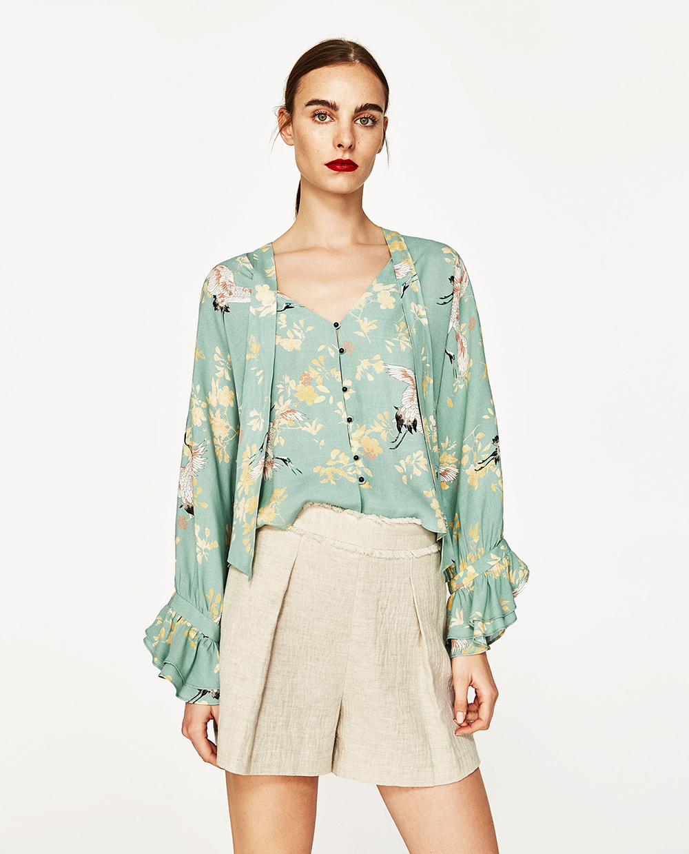 Zara Blouse With Heron Print - Statement Sleeves