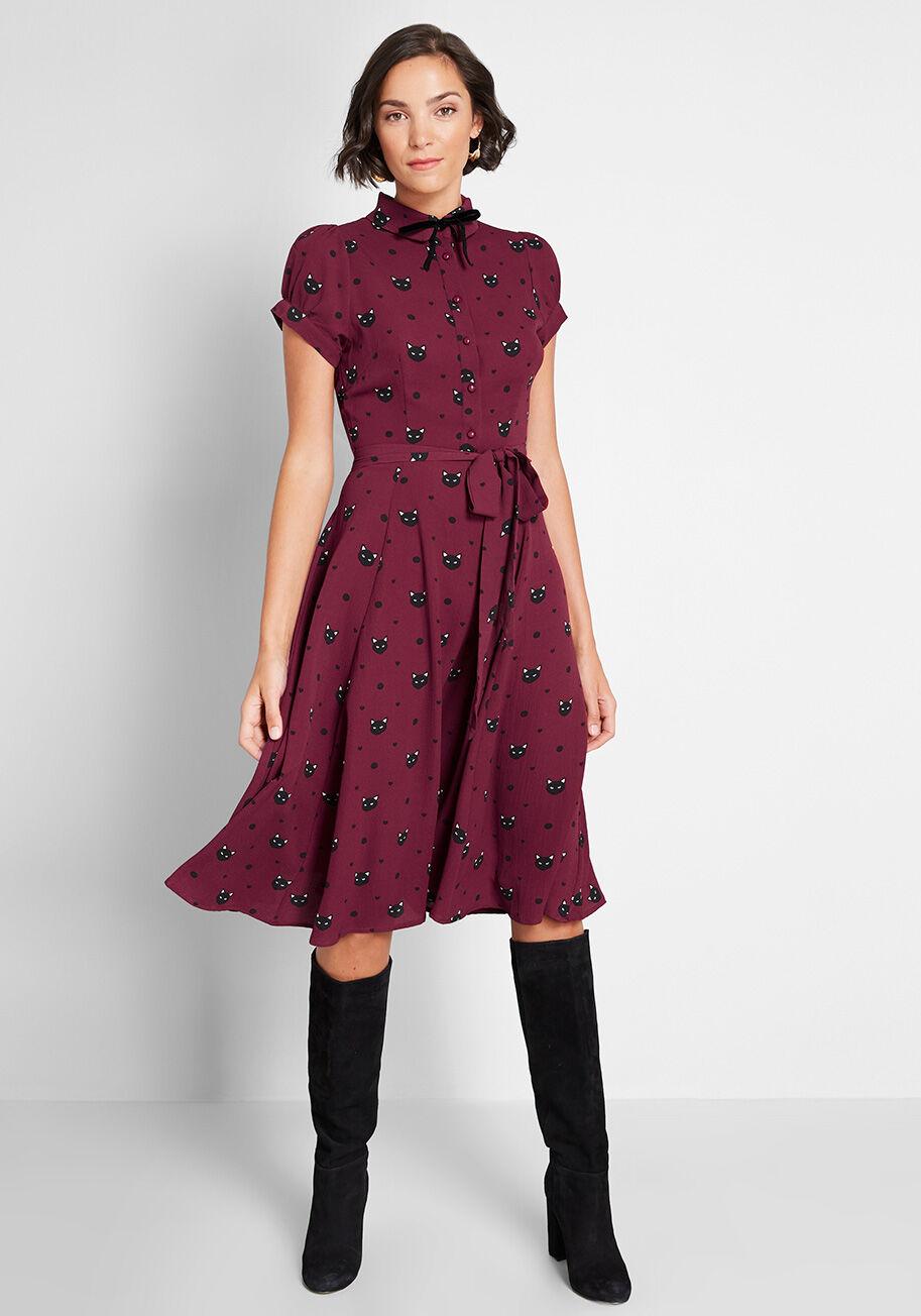 Modcloth Miss Meow Midi Dress - Spooky Style