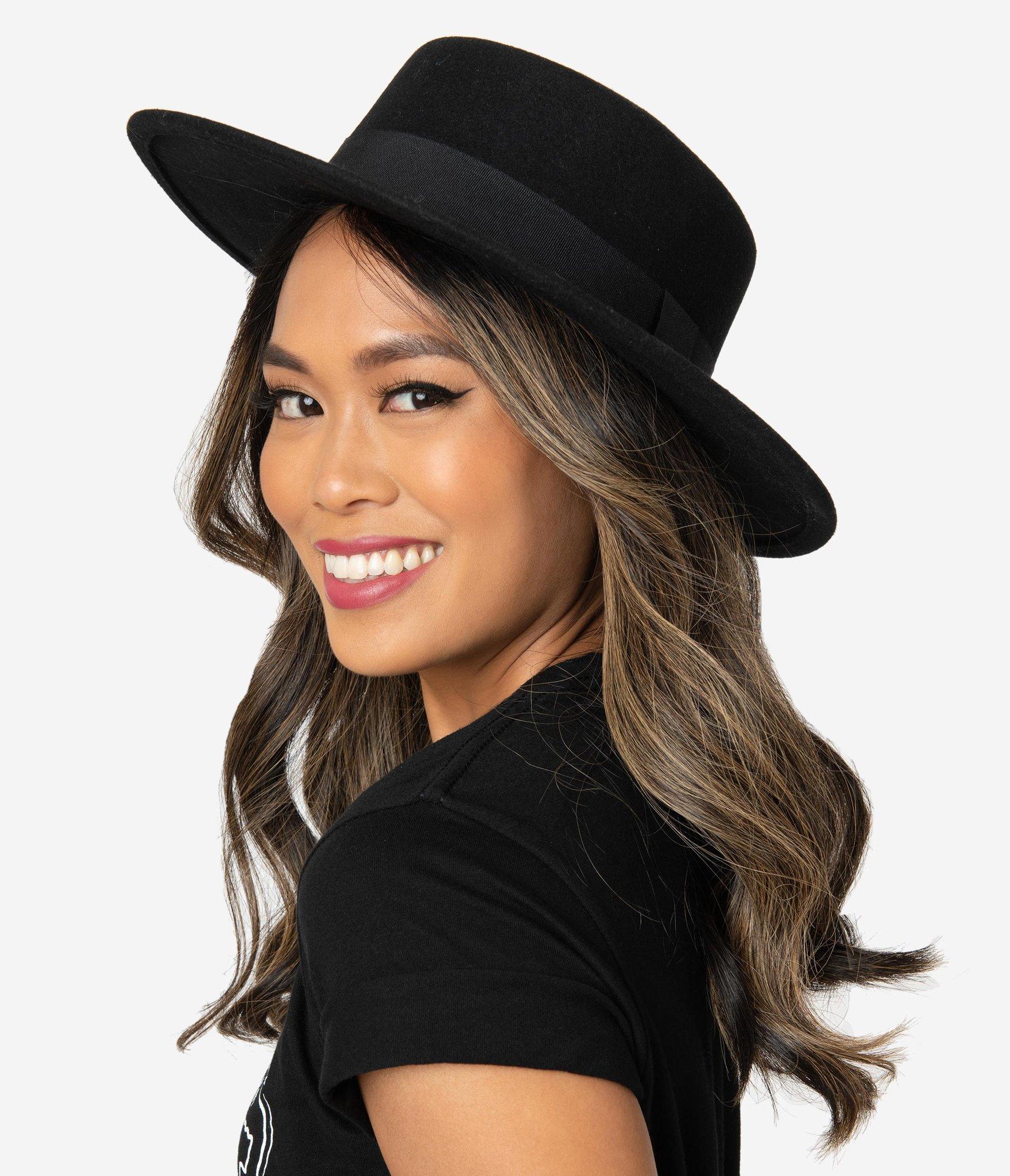 Unique Vintage Black Wool Felt Bolero Hat - Spooky Style