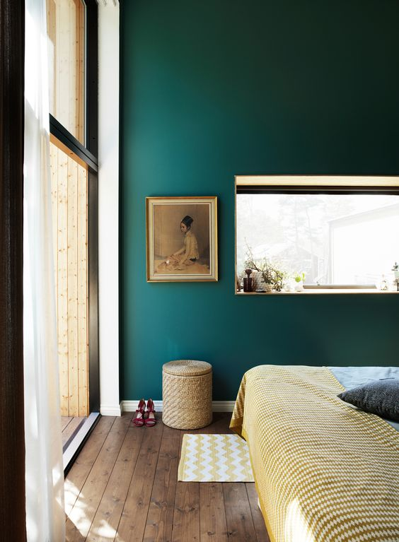 Well-Curated Style Mix with Colorful Details in Focus | Elle Sweden | Pinterest Picks - Green Bedroom Inspiration